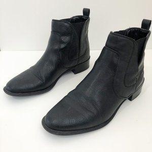 Nine West Black Leather Ankle Slip On Booties